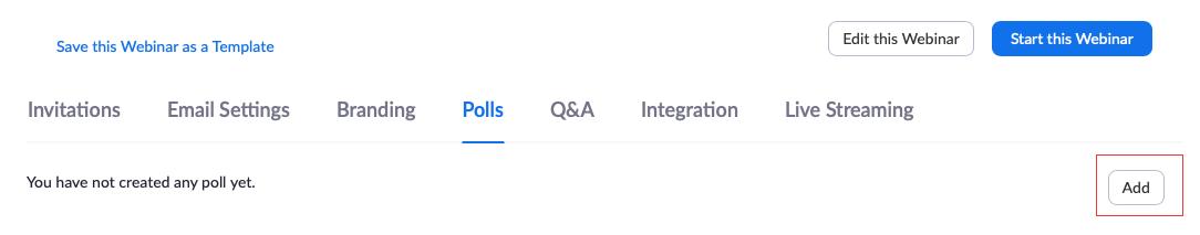 hướng dẫn sử dụng zoom webinar: tạo Poll trên zoom webinar