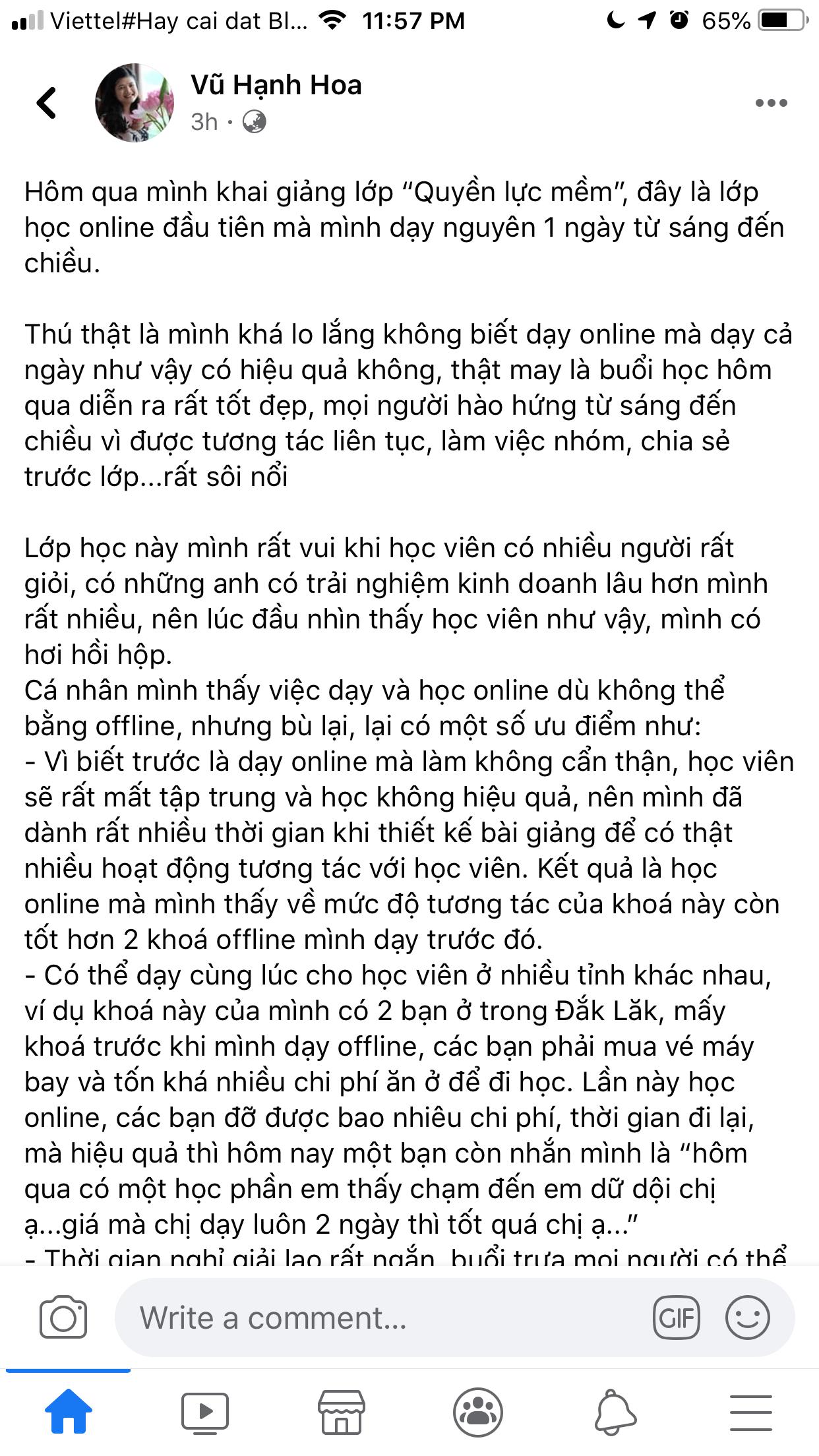 """Bài viết được đăng trên facebook cá nhân của giảng viên Vũ Hạnh Hoa HRP Vietnam. Lớp học """"Quyền lực mềm"""" - Vũ Hạnh Hoa HRP được tổ chức qua Zoom"""