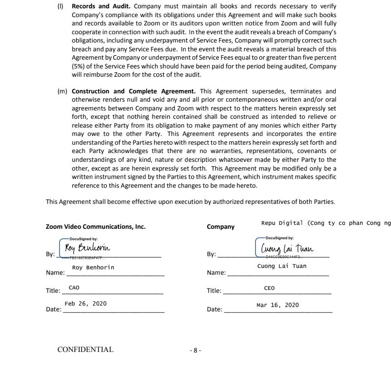 Biên bản ký kết Zoom US lựa chọn Repu Digital làm đối tác cao cấp tại Việt Nam