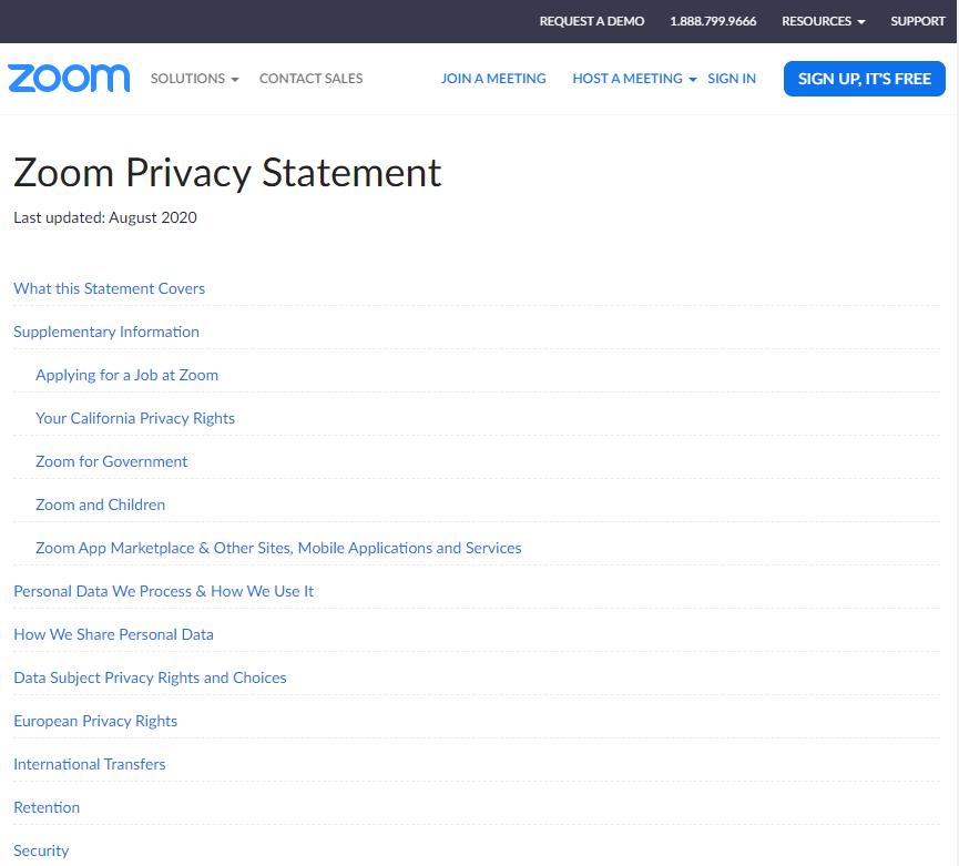 Chính sách quyền riêng tư của Zoom